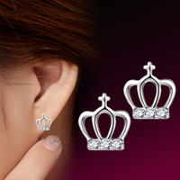 Wholesale Titanium Cross Earrings - The Crown Princess Cross Earrings S925 Sterling Silver Earring female anti allergy Valentine's Day gift to send his girlfriend