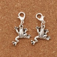 Wholesale Frog Clasps - Frog Animal Lobster Claw Clasp Charm Beads 100pcs lot 34.4x17.5mm Tibetan silver Jewelry DIY C167