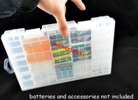 Wholesale C Battery Storage - 5pcs Home Storage Organization bins AA AAA C D 9V batteries Organizer Holder Container transparent PP plastic battery cell storage box rack