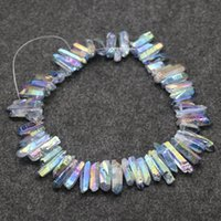Wholesale Gemstone Briolettes - Natural Rainbow Titanium AB Crystals Quartz Point Pendants, Raw Healing Gemstone Spikes Top Drilled Briolettes Rock, Women Necklace Jewelry
