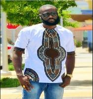 afrikanische tops-stile großhandel-2017 herren afrikanische kleidung dashiki stil baumwolle nähte wachs druck tops mann t shirts kleidung kitenge nigerianischen stil