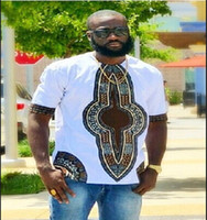Wholesale african clothing men - 2017 mens african clothing dashiki style cotton stitching wax printing tops man t shirts clothes kitenge nigerian style