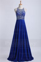 Wholesale Sapphire Yellow Gold Cheap - Cheap See Through Crystals Beaded Top Halter High Neck Criss-Cross Straps Open Back Chiffon Long Sapphire Prom Dress