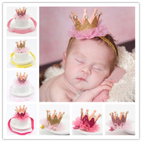 Wholesale Wholesale Bling Headbands - New Baby Princess Crown Headbands Kids Elastic Sparkle Bling Headwear Newborn Baby Photography Props Lace Hair Accessories Hairpin KHA267