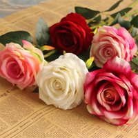 Wholesale Single Stem Rose Flower - 100pcs Single Stem Velvet Rose Camellia 52cm 20.47 inches Fake Roses for Wedding Centerpieces Home Artificial Decorative Flowers