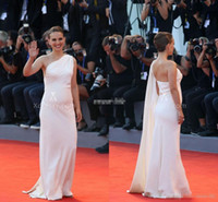 Wholesale Grecian Evening White Gown - 73rd Venice Film Natalie Portman 2016 White Celebrity Dresses Evening Gowns With Cape Sheath Party Red Carpet Dresses Grecian Pregnant Gowns