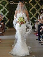Wholesale Lace Pearl Meter - Free Shipping 2 layers Ivory Bridal Wedding Veils Net 3 Meters Long 1.45 Meters Width Free comb Flowers Leaves pearl Beads so30