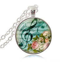 Wholesale Pink Rose Cabochon - Music Note Necklace Treble G-Clef Pendant Bird Jewelry Pink Flower Rose Necklace Glass Cabochon Butterfly Pendant Silver Charm Musician Gift