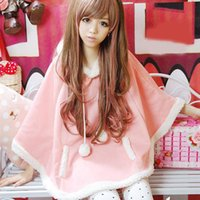Wholesale Japanese Doll Sweet - Wholesale- Autumn Japanese Batwing Sleeve Pullovers Hoodies Soft Fleece Girls Ball Doll Cloak Sweet Winter Warm Cape Cute Women Pullover