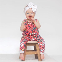 Wholesale One Piece Summer Pajamas - 2018 Summer Baby Clothing Children Newborn Cotton Sleeveless Heart Print Romper Jumpsuit Infant Toddler Pajamas One Piece Clothes 2 Styles