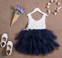 ingrosso vestiti della principessa della ragazza-Summer New Girl Lace Dress Garza Princess Vest Dress Girl Party Sundress Layered Dress Abbigliamento per bambini E16900