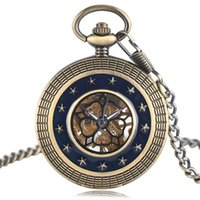 Antique Mechanical Hand Wind Pocket Watch Homens Mulheres Dark Blue Star Hollow Circle Brozne Relógio Unipessoal Fob com colar + saco