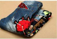 erkekler tasarımcısı tulumları toptan satış-2016Hot Satış Patchwork Kot Erkekler 2016 Yeni Tasarımcı Skinny Jeans Moda Marka Biker Denim Genel Sıska Pantolon Rahat Erkek Giysileri