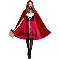 Wholesale Red Hood Cosplay - Sexy Little Red Riding Hood Costume Party adult Small RedCap cosplay Dress 2016 New clothing Halloween for Women Free Shipping