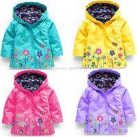 mädchen mode regenmantel großhandel-Mädchen blume Regenmantel 9 farben Kinder Mode Kleidung Winter baby Mit Kapuze Schleienmäntel Jacke für Winddicht Outwear C3169
