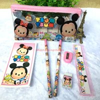 Wholesale Kid Ruler Stationery - 10 Sets Tsum Mickey minnie mouse Stationery Set Pencil case Ruler Sharpener Eraser School Supplies Cartoon Girls Children Kid Favor Gift