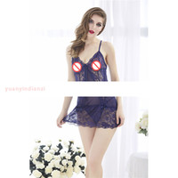 Wholesale Adult See Through Dresses - Sexy Sleepwear Sexy 4 color Lingerie Dress +Lace and lace underwear + suspender underwear + double - body transparent underwear adult produc