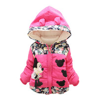 Wholesale Cute Jackets For Kids - 2016 Fashion Winter Jackets for Kids Cartoon Print Cute Outwear Casual Baby Girls Coats and Jackets Hooded with Ear Thick Warm Overcoat