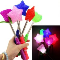 Wholesale Flash Light Roses - Plastic Particle Stick Multi Colors Spring Electronic Toy Heart Five Pointed Star Rose Flower Shape LED Light Flash Sticks New 1 25hp B