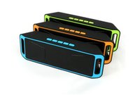 inşa edilmiş hoparlörler toptan satış-4.0 Kablosuz Bluetooth ile yeni Kablosuz Hoparlör SC208 Subwoofer Hoparlörler TF kart Radyo Dahili Mic Çift Bas Ses Kutusu