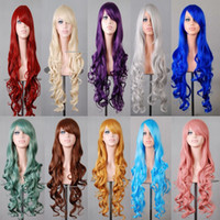 Wholesale Wigs Kanekalon Wholesalers - Long wavy women synthetic hair wig,brown rainbow color japanese kanekalon fibre anime cosplay wig peruca