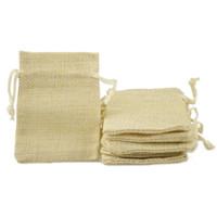 leinen jute tasche großhandel-6,5 * 8,5 cm doppelschicht hohe quanlity natürliche leinen kordelzug taschen schmuck beutel jute taschen sacksack beutel paket taschen geschenk hessischen taschen sack
