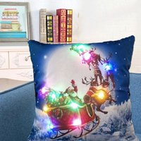 Wholesale Light Up Pillows - Santa Claus Flashing Pillow Case 45*45cm LED Light Pillows Cushion Cover Light Up Pillowcase Car Home Sofa Christmas festival Decoration