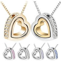 Wholesale green heart double chain necklace - Double Heart Crystal Pendant Necklace 2016 Brand New Love Pendent Necklace Elements Crystal Pendant Necklaces women jewelry 2337-5