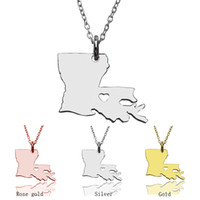 Wholesale Wholesale Customized Jewelry - Rhode Island State Necklaces & Louisiana state Necklace With Heart Necklaces USA State Customize map necklace jewelry gift woman wholesale