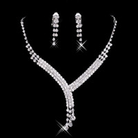 Wholesale Bridal Prom Jewelry - Cheap Bridal Jewelry Crystal Rhinestones Bride Prom Wedding Jewellery Sets 2015 Necklace Drop Earrings Bridal Accessories 15023