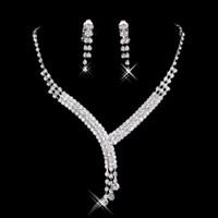 Wholesale Crystal Rhinestone Jewellery - Cheap Bridal Jewelry Crystal Rhinestones Bride Prom Wedding Jewellery Sets 2015 Necklace Drop Earrings Bridal Accessories 15023