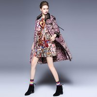 Wholesale Three Quarter Sleeve Down Jackets - 2017 fashion winter Women's Down Parkas new women Europe and the United States leopard printed lapel hooded warm thick down jacket