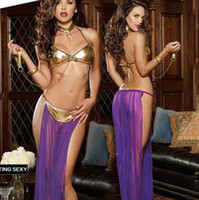 Wholesale Sexy Bondage Lingerie - Sexy Pajamas Hot Dresses Erotic Dancing Wear 3 Pieces Sex Underwear With Neck Bracelet Bondage Vestidos Femininas Stripper Split Lingerie