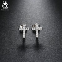 Wholesale Micro Pave Cubic Zirconia - Platinum Plated Cross Silver Stud Earring Micro Pave AAA Austrian Cubic Zirconia for Wedding Fashion Women Jewelry OE132