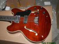 4 Cordas Brown Flame Top Electric Bass Oco 335 Guitarras baixas OEM De China