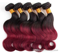 Wholesale Natural Red Hair Colors - 3 Bundles black and red ombre hair No shedding Tangle free Color #21b#99j body wave Free Shipping 3,4,5pcs lot