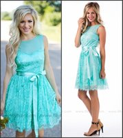 Wholesale Short White Dress Black Belt - Turquoise Short Bridesmaid Dresses 2016 Jewel Neck A Line Country Style Vintage Lace with Belt Maid of Honor Gowns Wedding Guest Dresses