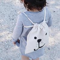 Wholesale Batman Candy - Kids Mini Cute Toys Storage Canvas Bags portable Batman Bear Rabbit print Laundry Bag Pouch Candy bags School cotton GIFT 23*27CM