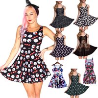 Wholesale Skater Dresses Knee - NEW 265 Style Sexy Girl Women Summer The Nightmare Before Christmas Unicorn 3D Prints Reversible Sleeveless Skater Pleated Dress Plus size
