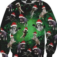 Wholesale Mens Christmas Hoodie - 2017 New Winter mens Christmas Sweater Cat Print Casual Long Sleeve Pullover Hoodies Jumper Outwear For Men