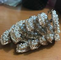 Wholesale Wholesale Decorating Supplies - Fashion brand5pcs 6X4.5CM size Classic fashion symbol brooch pearl decorate CC fashion accessories party gift