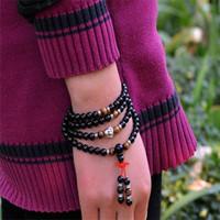 Wholesale Buddha Fashion Bangle - Natural Red or Black agate beaded bracelets Fashion 6 MM 108 beads bangles For women&men Buddha head jewelry ornaments
