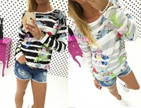 Wholesale Ladies Fall Sweaters - Womens Ladies Striped Flower Print Hoodies Sweatshirt Long Sleeve Crewneck Floral Fall Pullover Jumper Tops Blouse Sweater Shirts