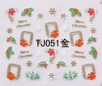 Wholesale Gold Water Decals Nail - Can Mix Design 3D Christmas gift design Water Transfer Nails Art Sticker decals TJ gold 3d nail decal