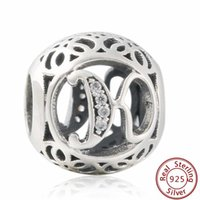 Wholesale Alphabet Charms K - NEW Authentic 925-Sterling-Silver Vintage Alphabet K Cubic Zirconia Letter K Openwork Charms with clear CZ Bead For Women Bracelets Jewelry