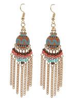 Wholesale Exotic Tassels - Boutique Earrings Women Exotic Pattern Epoxy FH Earrings Girls Gold Silver Chains Tassel Earring Lady Beads Charm Earrings
