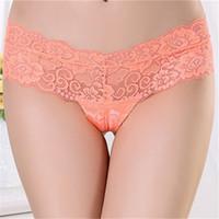 Wholesale Lingerie Pink Fancy - Transparent Seamless Underwear Fancy Exquisite Lace Girls Panties New Design Sexy Mature Women Lingerie Underwear Free Shipping