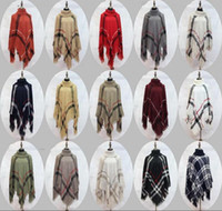 Wholesale wrap shawl knit - Plaid Poncho Women Tassel Blouse Knitted Coat Sweater Vintage Wraps Knit Scarves Tartan Winter Cape Grid Shawl Cardigan Cloak 12pcs OOA2903