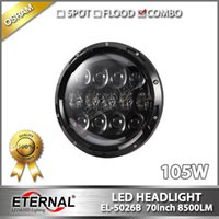 "Wholesale Headlamp Connectors - 4pair-105W Jeep headlight 7"" wrangler headla PAR56 headlamp 07-16 CT TJ JK FJ Miata LED driving spot flood DRL H4 H13 wire connector"