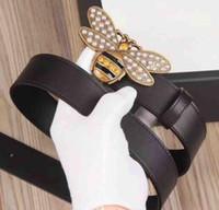ingrosso uomini di cintura in pelle gialla-Hot Fashion lusso pietre gialle ape fibbia uomo donna designer cinture stile europeo alta marchia Cintura in vera pelle per il regalo